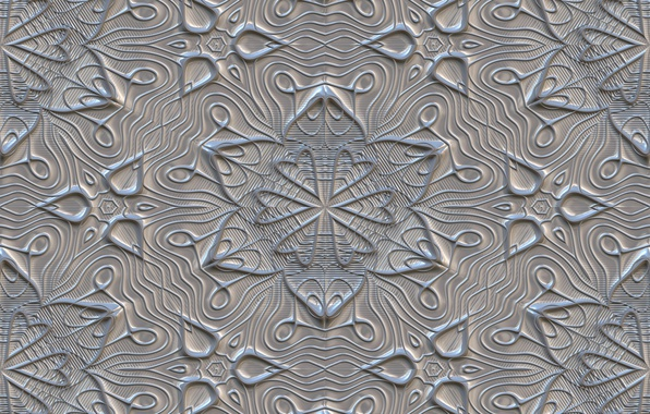 Картинка цветы, серый, фон, узор, текстура, орнамент, texture, gray, metalic