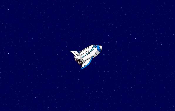 Картинка Рисунок, Звезды, Космос, Арт, Пиксели, Летит, Шатл, 8Бит