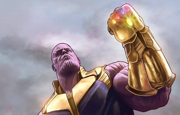 Картинка Рисунок, Marvel, Злодей, Comics, Марвел, Комиксы, Thanos, Танос, Суперзлодей, Villain, Supervillain, Перчатка Бесконечности, Infinity Gauntlet, …
