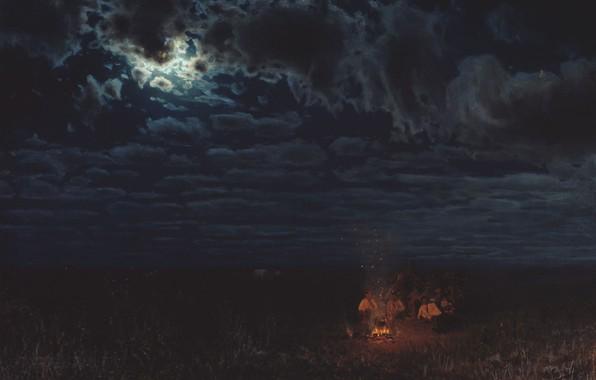 Фото обои облака, огонь, масло, лунный свет, Холст, костёр, Николай СЕРГЕЕВ, Ночью в степи