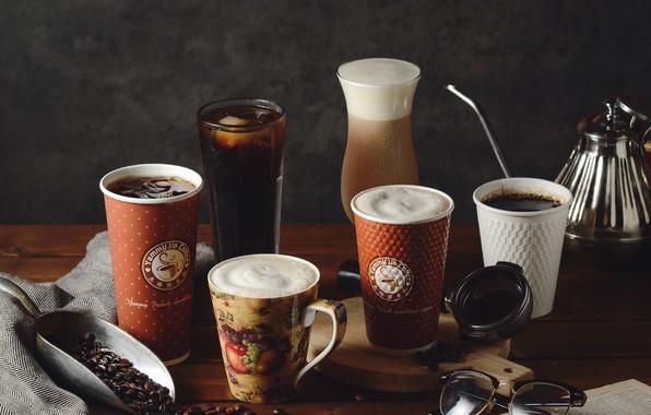 Картинка кофе, стаканы, напитки, кофейные зёрна