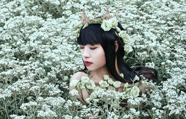 Картинка девушка, цветы, лицо, настроение, волосы, макияж, азиатка, венок, эустома, Bella Kotak, Ts-zing, анафалис