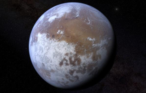 Картинка космос, планета, марс, ледяная