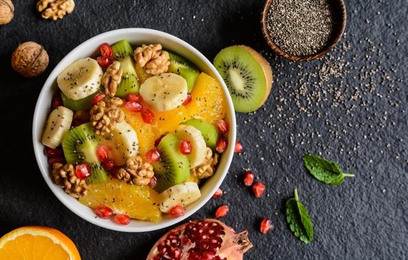 Картинка апельсин, завтрак, киви, фрукты, орехи, банан, гранат, фруктовый салат