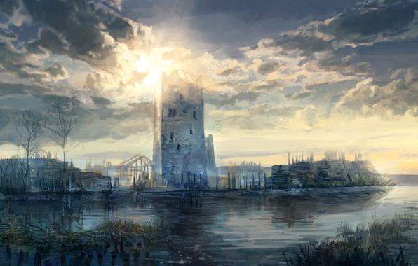 Картинка небо, облака, деревья, озеро, башня, арт, крепость, Ведьмак 3: Дикая Охота, Witcher 3: Wild Hunt