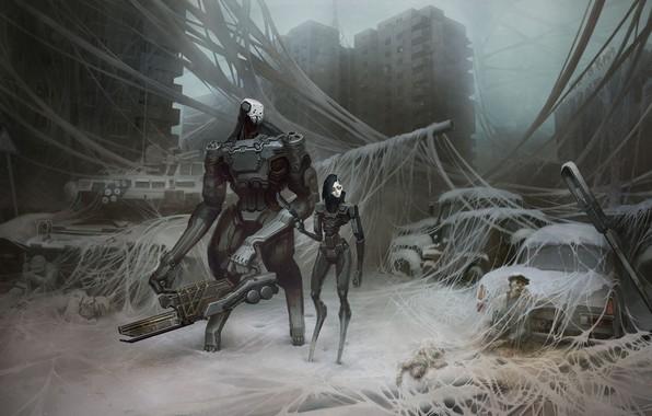 Картинка машина, город, фантастика, улица, робот, арт, танк, киборг, россия, постапокалипсис, спецназ