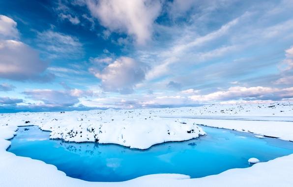 Картинка зима, дорога, небо, вода, облака, снег, Исландия