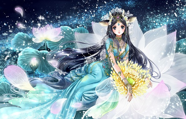 Картинка девушка, цветы, аниме, лепестки, арт, shiitake, gensoudou