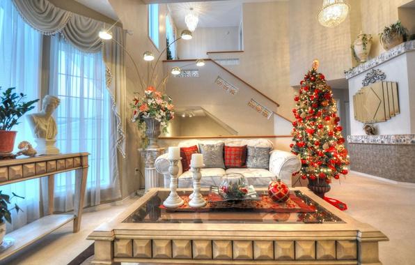 Картинка диван, праздник, елка, Новый Год, Рождество, столик, гостиная