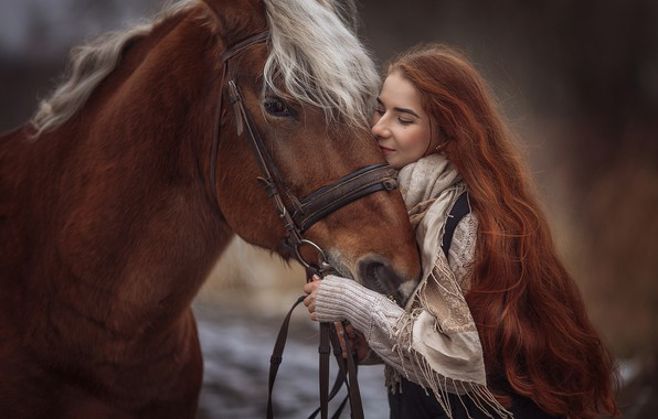 Картинка девушка, настроение, конь, лошадь, рыжая, рыжеволосая, длинные волосы, Анюта Онтикова