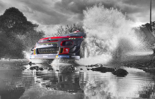 Картинка Небо, Вода, Спорт, Скорость, Лужа, Citroen, Брызги, Фары, WRC, Rally, Ралли, Передок, Черно - белое