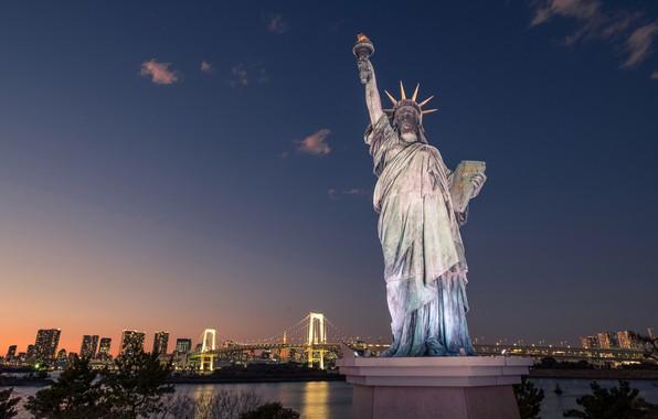 Картинка мост, Япония, Токио, Статуя Свободы