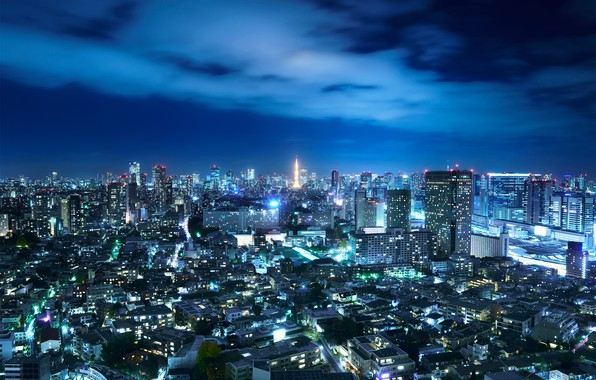 Картинка небо, ночь, город, огни, Япония, Токио
