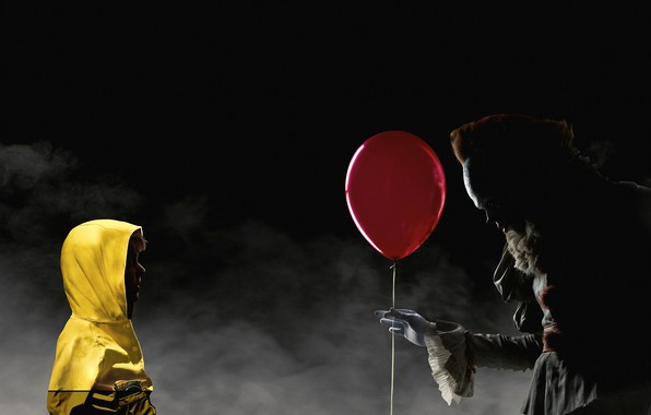 Картинка ночь, красный, туман, шарик, клоун, куртка, капюшон, воздушный, жёлтая, постер, ребёнок, ужасы, Bill Skarsgård, Оно, …