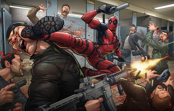 Картинка оружие, маска, костюм, удар, злодей, art, наемник, deadpool, marvel comics, Patrick Brown, Wade Wilson, PatrickBrown