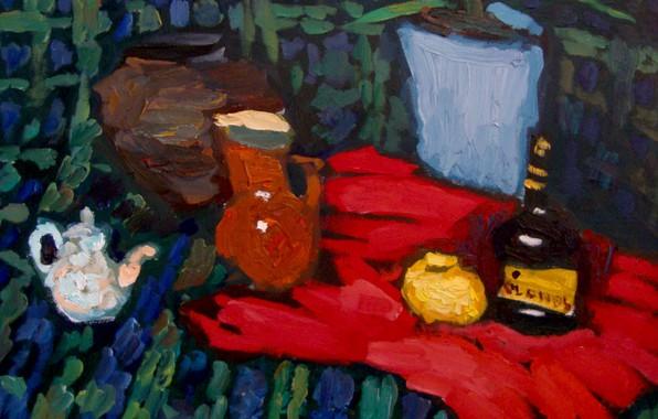Картинка лимон, чайник, кувшин, натюрморт, 2010, коньяк, алое, Петяев