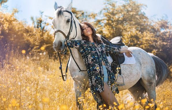 Картинка лето, девушка, цветы, природа, конь, лошадь, шорты, брюнетка, рубашка