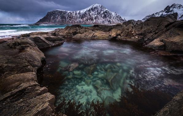 Картинка море, вода, прозрачность, горы, камни, скалы, Норвегия, фьорд