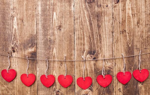 Картинка любовь, сердечки, red, love, wood, romantic, hearts
