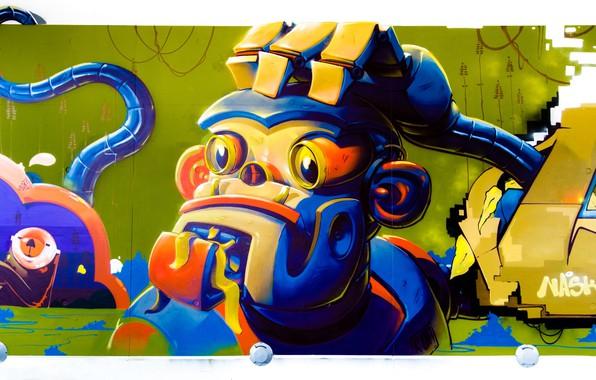 Картинка стена, граффити, рисунок, арт