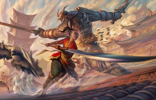 Картинка girl, sword, fantasy, weapon, katana, birds, battle, buildings, artwork, architecture, giant, Samurai, warrior, fantasy art, …