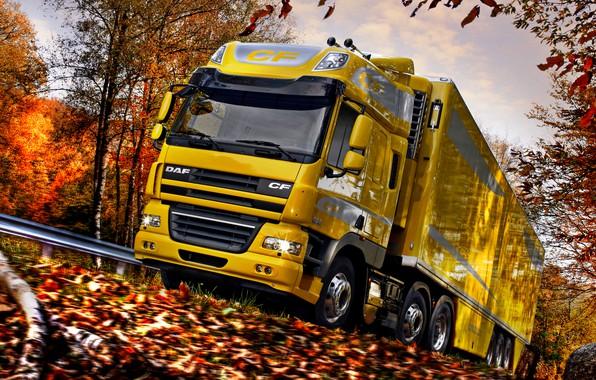 Картинка дорога, осень, небо, облака, деревья, жёлтый, листва, размытие, ограждение, обочина, DAF, седельный тягач, ДАФ, Space …