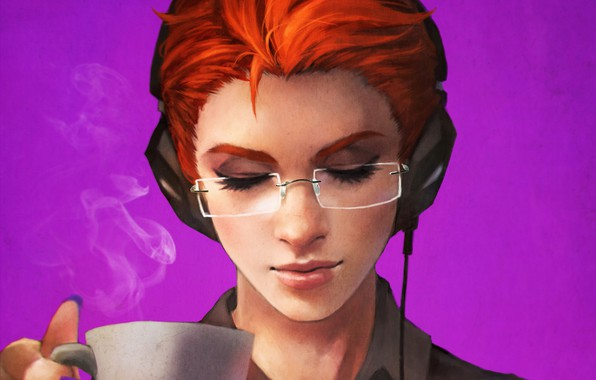 Картинка девушка, наушники, очки, art, overwatch, Moira O'Deorain, moira