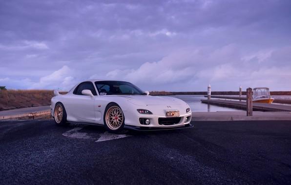 Картинка Mazda, Car, Front, White, Sunrise, RX-7, Sport