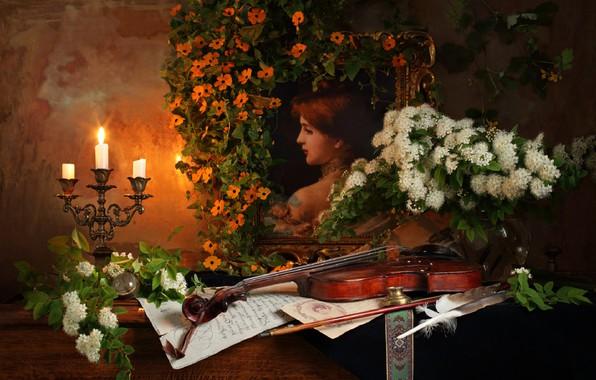 Фото обои скрипка, свеча, натюрморт, картина, цветы