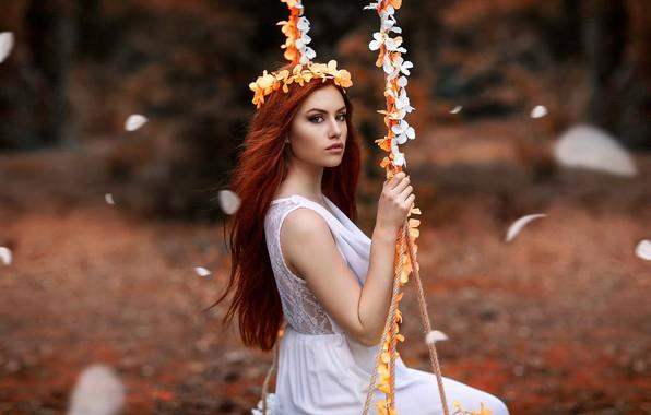 Картинка девушка, цветы, качели, настроение, Alessandro Di Cicco, Valentina Galassi