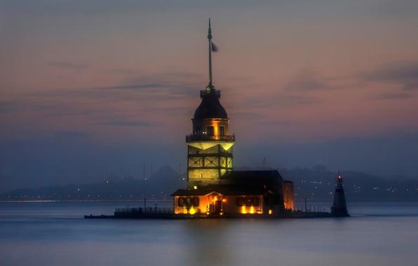 Картинка огни, пролив, маяк, Стамбул, Турция, Босфор