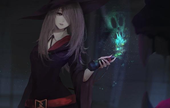 Картинка девушка, магия, шляпа, аниме, арт, форма, ведьма, sucy manbavaran, aoi ogata, little witch academia