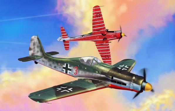 Картинка Германия, арт, люфтваффе, истребитель-моноплан, Вторая мировая война., поршневой истребитель, Focke -Wulf, JV44, Fw.190D-9