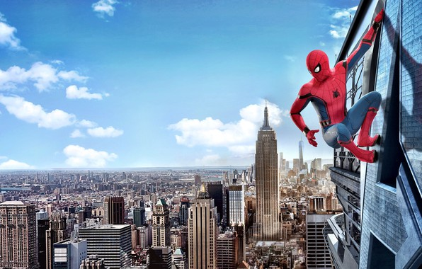 Картинка city, cinema, spider, sky, cloud, man, boy, Marvel, movie, Spider-man, hero, film, mask, Spiderman, uniform, …