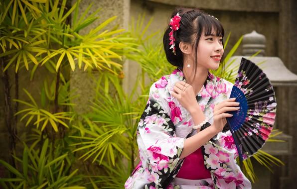 Фото обои девушка, улыбка, кимоно, азиатка