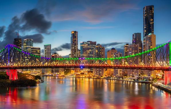 Картинка мост, река, здания, дома, Австралия, небоскрёбы, Australia, Queensland, Брисбен, Brisbane, Квинсленд, Река Брисбен, Brisbane River, …