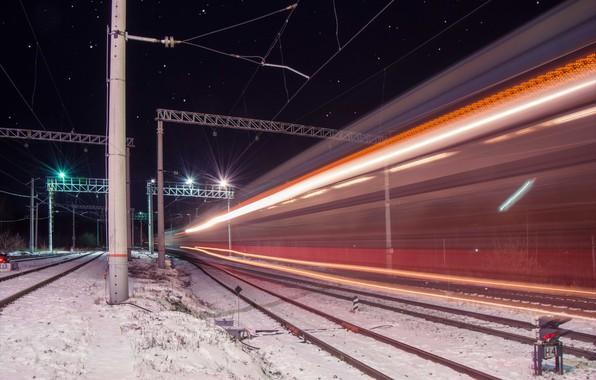 Картинка звезды, ночь, огни, провода, поезд, железная дорога