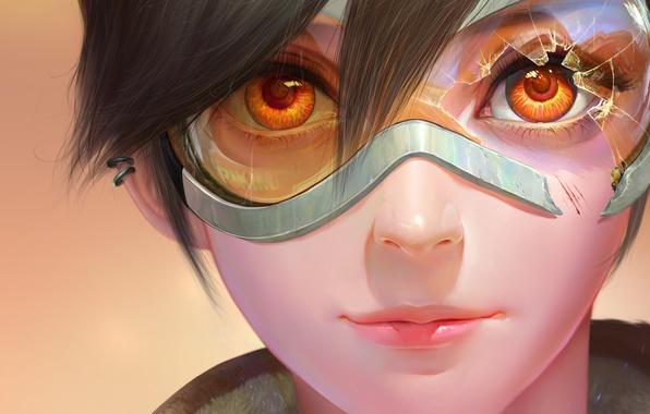 Картинка глаза, взгляд, девушка, пирсинг, арт, очки, blizzard, art, Tracer, overwatch, lena oxton