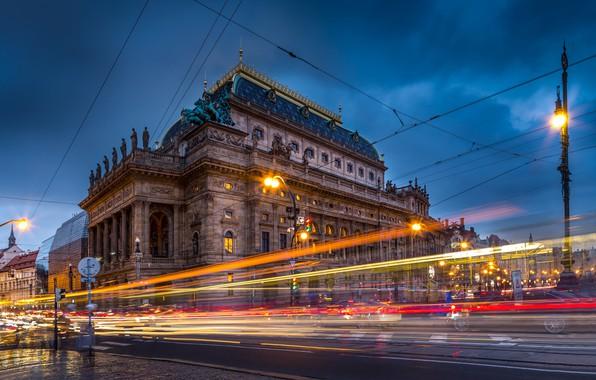 Картинка дорога, улица, здание, Прага, Чехия, фонарь, Prague, Czech Republic, National Theatre, Национальный театр