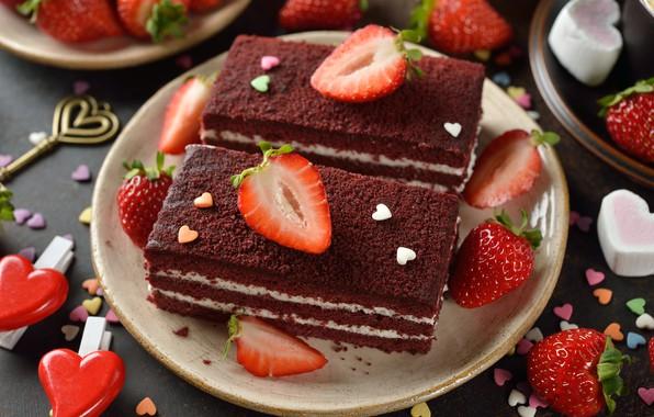 Картинка ягоды, клубника, выпечка, Торт