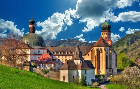 Картинка облака, Германия, монастырь, Germany, Баден-Вюртемберг, Baden-Württemberg, аббатство, Мюнстерталь, Muenstertal, St. Trudpert Abbey