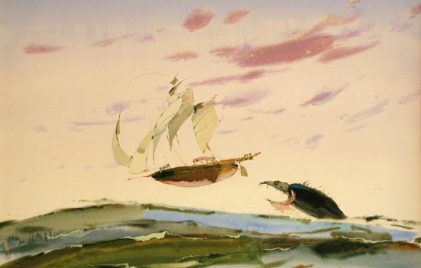 Картинка корабль, акула, паруса, АРУШ ВОЦМУШ