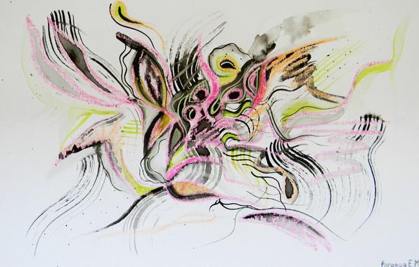 Картинка бабочки, оранжевый, жёлтый, розовый, чёрный, Рисунок, феи, Лена Роговая
