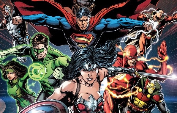 Картинка Меч, Герои, Костюм, Супермен, Комикс, Heroes, Плащ, Wonder Woman, Superheroes, Щит, Green Lantern, Superman, Кларк …