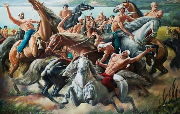 Картинка Айбек Бегалин, 2012г, Кокпар, горы речка, конная-спортивная игра