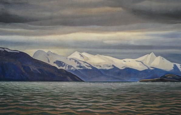 Картинка море, горы, природа, картина, Морской Пейзаж, Rockwell Kent, Рокуэлл Кент