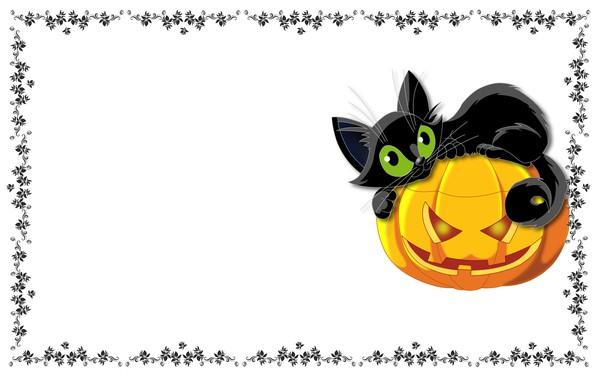 Картинка кот, праздник, узор, арт, тыква, хэллоуин, детская