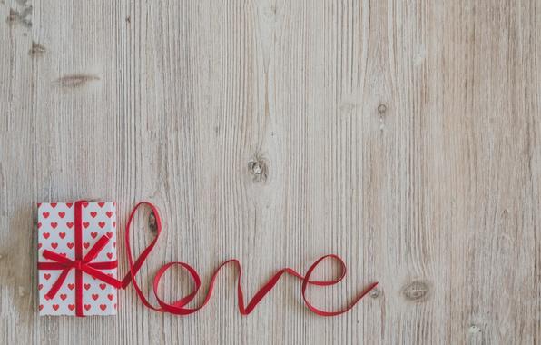 Картинка лента, red, love, wood, romantic, valentine's day, gift