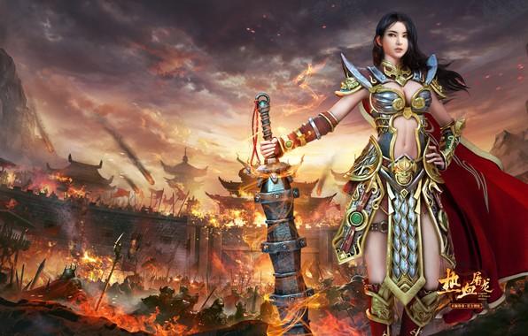 "Картинка игра, фэнтези, арт, yonglin yao, 热血屠龙, Legendary ""Striker Dragon"""