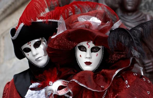 Картинка пара, Венеция, наряд, карнавал, маски, костюмы